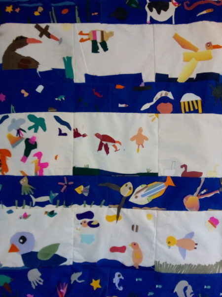 Watervrienden collage Wandkleed